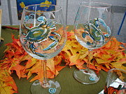 Painted Glass Art - Blue Crabs on Wine Glasses by Sarah Grangier