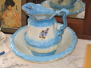 Doilies Prints - Blue Cream Pitcher and Basin Print by Donna Wilson