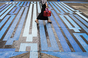 Crosswalk Posters - Blue Crosswalk Poster by Setsiri Silapasuwanchai