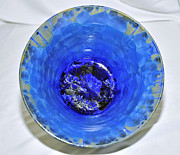 White Background Ceramics - Blue Crystalline Glaze Bowl by Neeltje Vos