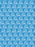 Gradient Drawings - Blue Cubes by Olivera Antic
