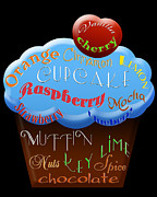 Cherry Art Mixed Media Prints - Blue Cupcake Typography Print by Andee Photography