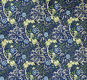 Fabric Art Tapestries - Textiles Prints - Blue Daisies Design Print by William Morris