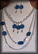 Evening Jewelry Prints - Blue Danus Print by Jan  Brieger-Scranton