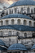 Arabic Prints - Blue Dawn Blue Mosque Print by Joan Carroll
