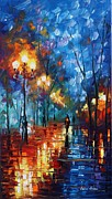 Leonid Posters - Blue Day - Palette Knife Oil Painting On Canvas By Leonid Afremov Poster by Leonid Afremov
