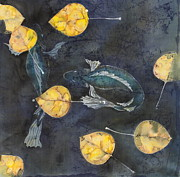 Fish Tapestries - Textiles Posters - Blue Depths Poster by Carolyn Doe
