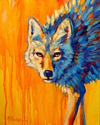 Desert Wildlife Paintings - Blue Desert Coyote by Theresa Paden