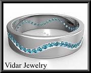 Featured Jewelry - Blue diamond 14k White Gold Mens Wedding Ring by Roi Avidar
