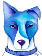 Collie Painting Framed Prints - Blue Dog Framed Print by Deb Harvey