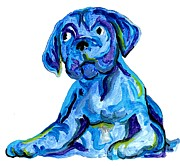 Boxer Dog Mixed Media - Blue Dog by Dee Phillips
