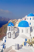 Typical Framed Prints - Blue Dome  Framed Print by Aiolos Greek Collections