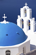 White Walls Metal Prints - Blue dome church Metal Print by Aiolos Greece Collection