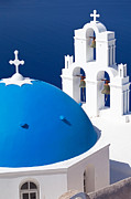 White Walls Posters - Blue dome church Poster by Aiolos Greek Collections