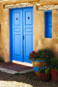 Potted Flowers Prints - Blue Door Adobe Walls Print by George Oze