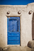 Log Homes Prints - Blue Door and Bell Adobe Print by Marilyn Hunt