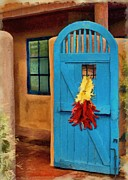 Wooden Building Digital Art Posters - Blue Door and Peppers Poster by Jeff Kolker