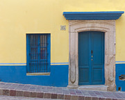 Window Bars Prints - Blue Door Print by Douglas J Fisher