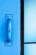 Painted Wood Prints - Blue Door Handle Print by Carolyn Marshall