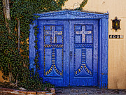 Entrance Door Framed Prints - Blue door in Albuquerque  Framed Print by Elena Nosyreva