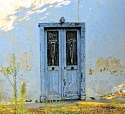 French Pyrography - Blue door in dappled shade by Matt Rice