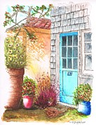 Urban  Drawings Paintings - Blue-door-in-Venice-California by Carlos G Groppa