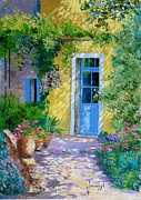 French Door Digital Art Prints - Blue Door Print by Jean-Marc Janiaczyk
