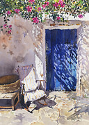 Margaret Merry Art - Blue door by Margaret Merry