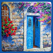 Jerusalem Drawings Posters - Blue door Poster by Miki Karni