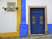 Blue Cobblestone Prints - Blue Door of Medieval Obidos Print by David Letts