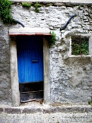 France Doors Prints - Blue Door  on Rustic House Print by Lainie Wrightson