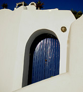 Greetingcard Framed Prints - Blue door on Santorini Island Greece Framed Print by Colette V Hera  Guggenheim