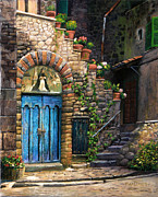 Stone Steps Prints - Blue Door Print by Tim Davis