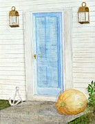 Entrance Door Mixed Media Posters - Blue Door with Pumpkin Poster by Barbie Corbett-Newmin