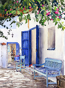 Margaret Merry Art - Blue Doors by Margaret Merry
