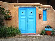 Blue Doors Of Taos Print by Lucinda Walter