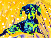 Dachshund Puppy Digital Art Framed Prints - Blue Doxie Framed Print by Jane Schnetlage