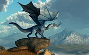 Drake Digital Art - Blue Dragon by Daniel Eskridge