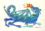 Lori Ziemba Prints - Blue Dragon Print by Lori Ziemba