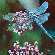 Courage Painting Originals - Blue Dragonfly by Tracey Harrington-Simpson