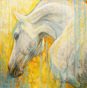 White Horse Paintings - Blue Dreaming by Silvana Gabudean