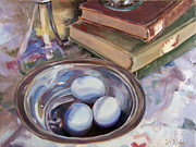 Cruet Framed Prints - Blue Eggs Silver Bowl Framed Print by Glenda Blake