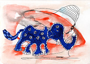 Tusk Painting Posters - Blue Elephant in a Museum Poster by Mukta Gupta