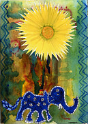Tusk Painting Posters - Blue Elephant in the Rainforest Poster by Mukta Gupta
