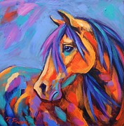 Abstract Horse Paintings - Blue Eyed Beauty by Theresa Paden