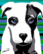 Puppies Digital Art - Blue Eyed Bully by Cindy Edwards