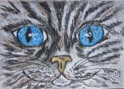 Stripped Paintings - Blue Eyed Stripped Cat by Kathy Marrs Chandler