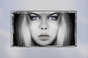 Blonde Photo Posters - Blue Eyes - Acrylic print in a unique Virtual Frame Poster by Art Grafts