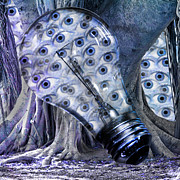 Light Bulb Digital Art Posters - Blue Eyes Poster by East Coast Barrier Islands Betsy A Cutler