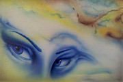 Airbrush Prints - Blue Eyes in the Rain Print by Mike Royal